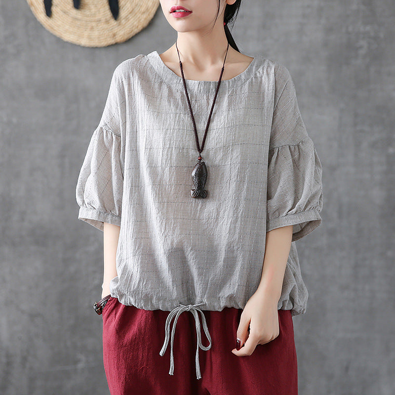 Literary Plaid Short-Sleeved Loose Round Neck Blouse