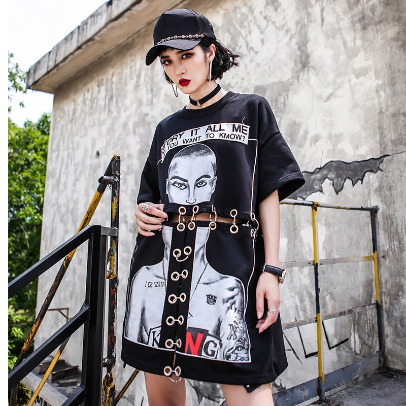 Summer Plus Size Hip Hop Print Shirt
