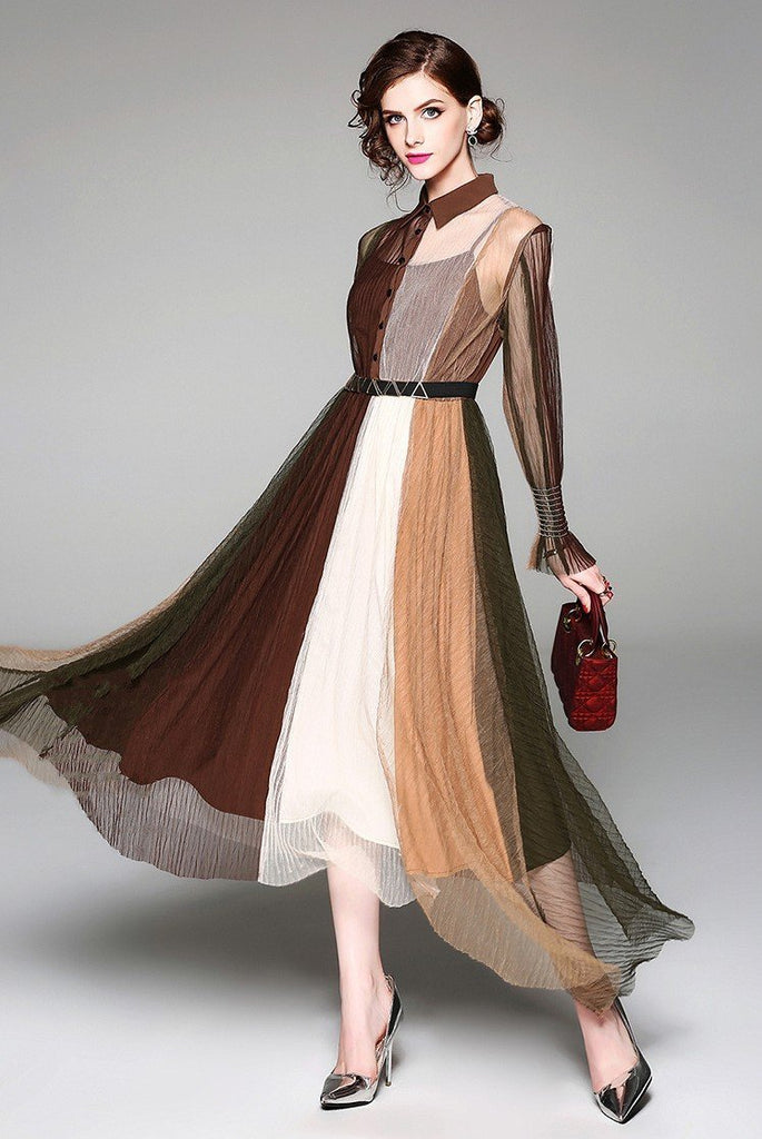 Fashion Lapel Long Sleeve Contrast Slim Long Dress