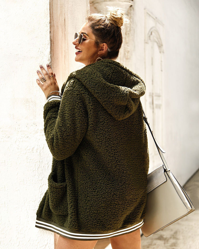 Green Autumn Hooded fur coat cardigan