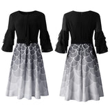 Multi-layer Stitching Gradient Print Plus Size Dress