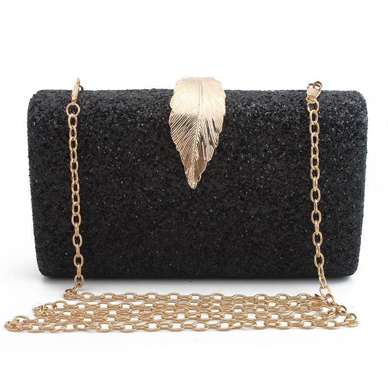Shiny Metal Leaf Lock Fashion Dinner Bag Ladies Clutch Bag