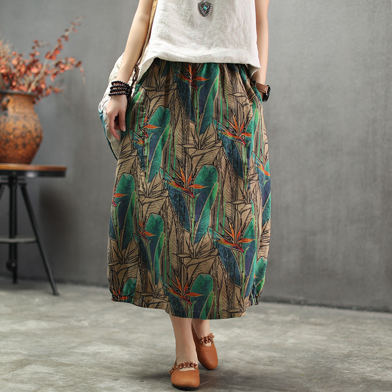 Ethnic Style Printed Skirt