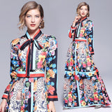 Retro Long Sleeve Fashion Print Stitching Dress