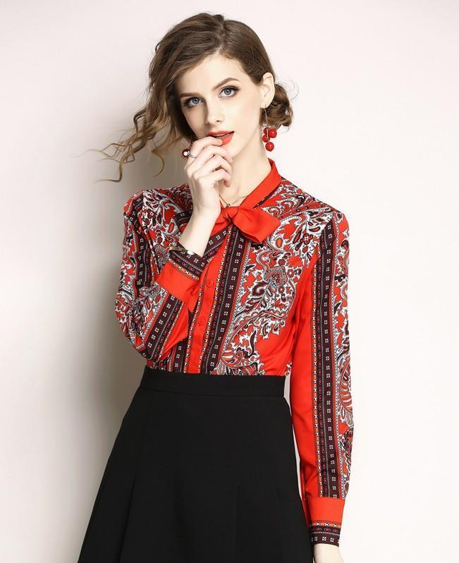 Retro Bow Long Sleeve Fashion Printed Slim Shirt