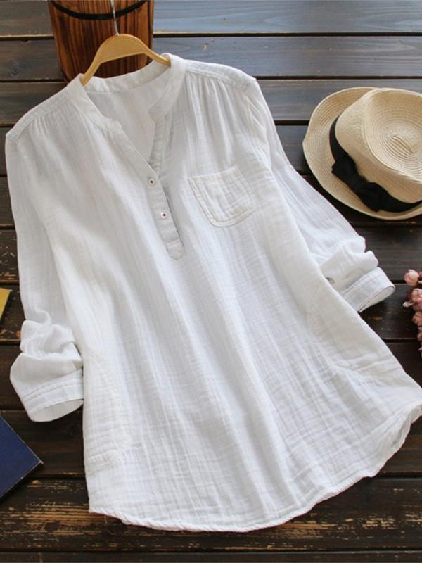 Cotton solid Blouse Wild long sleeve Plus Size Shirt