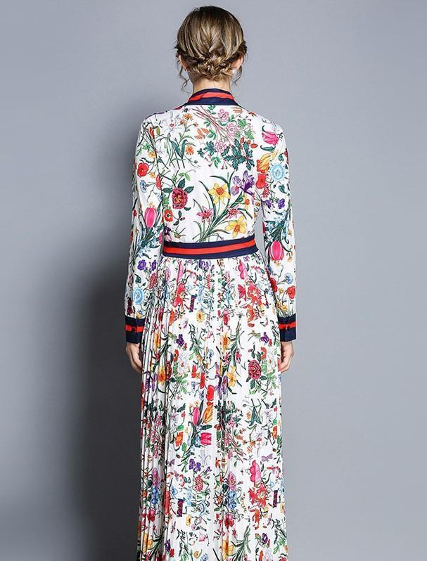 Fashion Floral Print Long Sleeves Maxi Dress