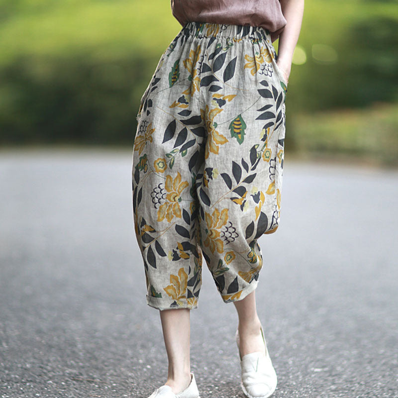 Literary Retro Loose Linen Cropped Trousers