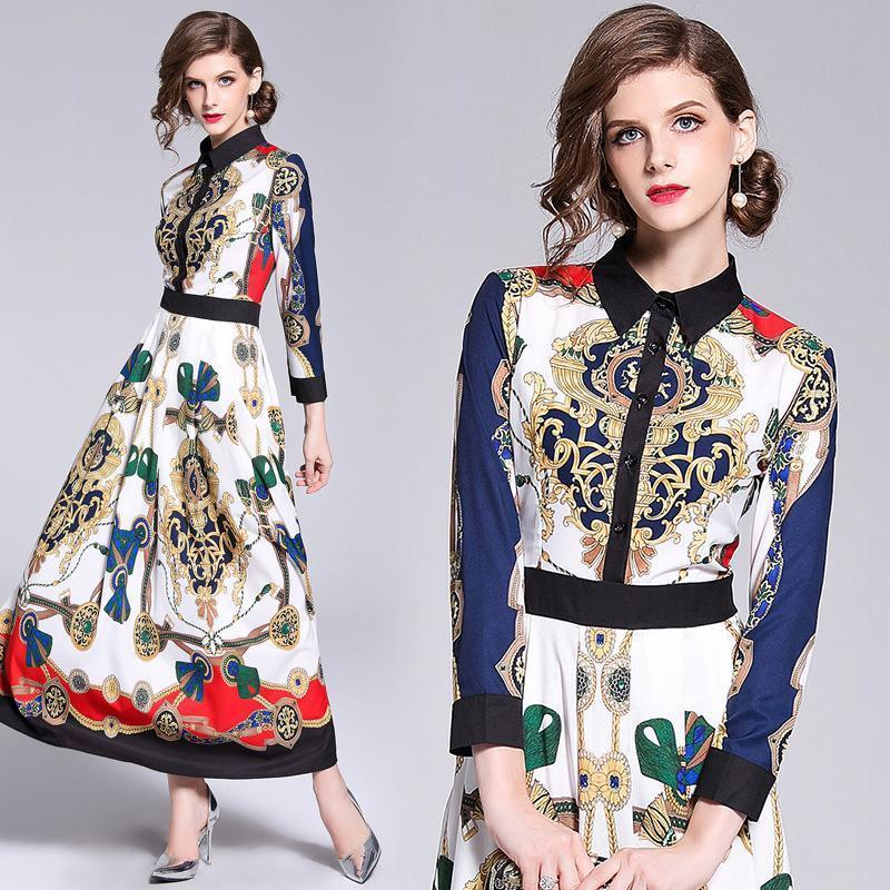 Retro Lapel Print Fashion Versatile Dress