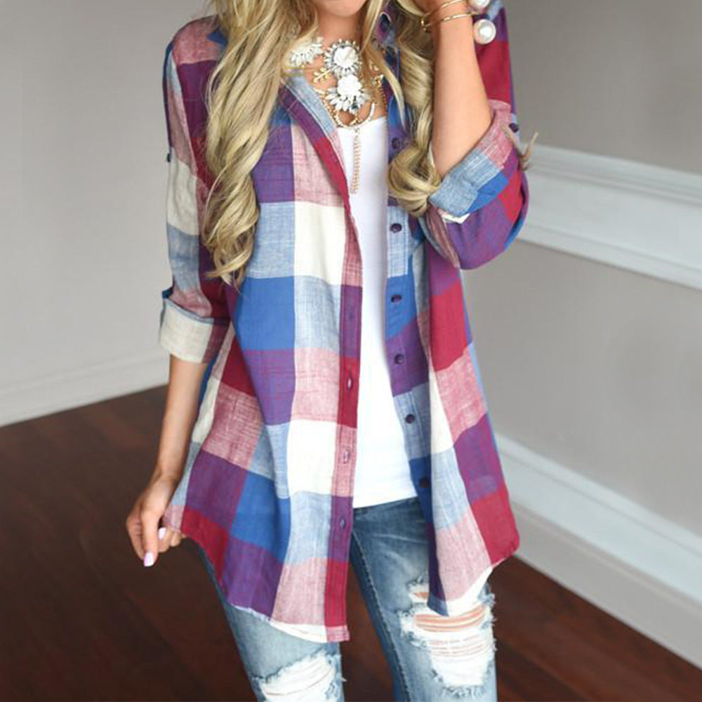 Lapel Casual Long Sleeve Plaid Print Blouse