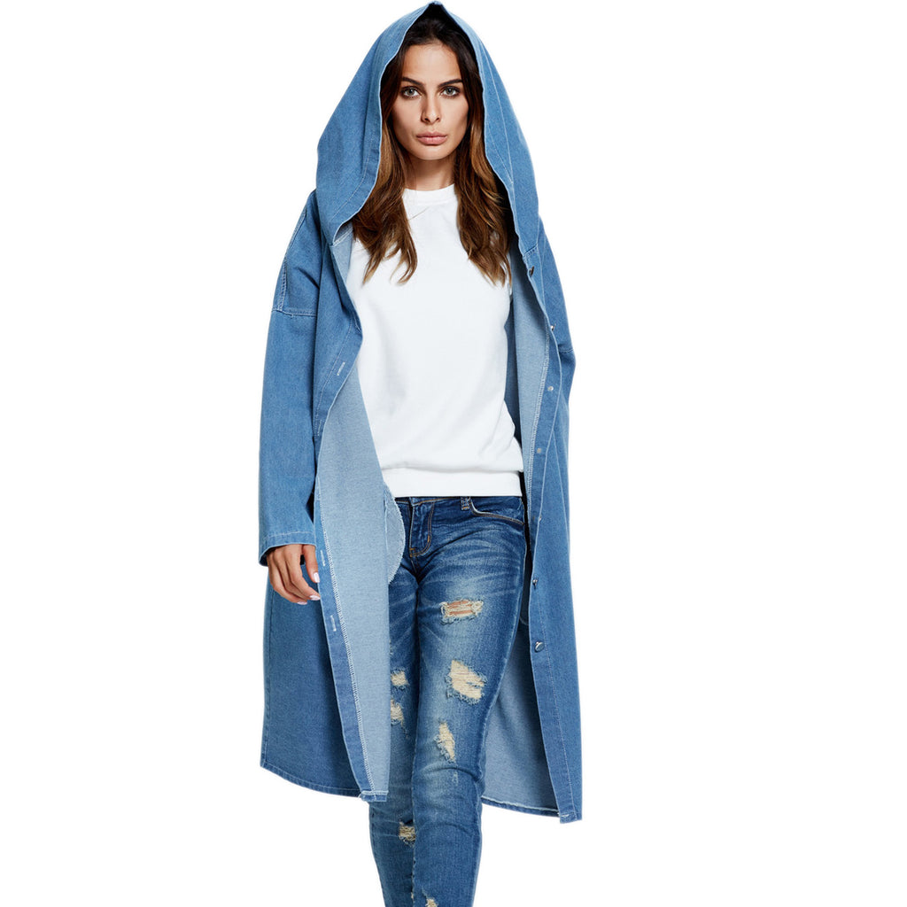 Hooded Long Cardigan Denim Coat