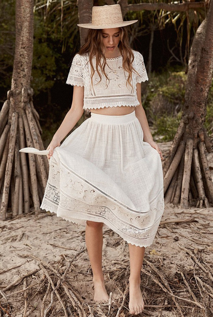 Sexy Two Pieces Boho White Lace Suit Set