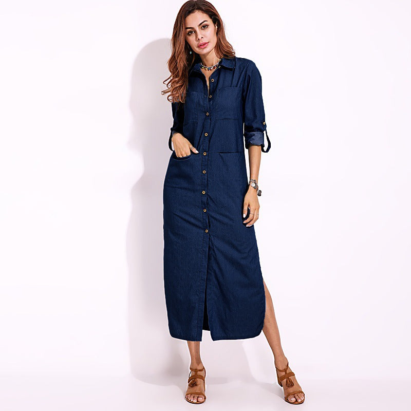 Denim Long Sleeves Long Shirt Dresses