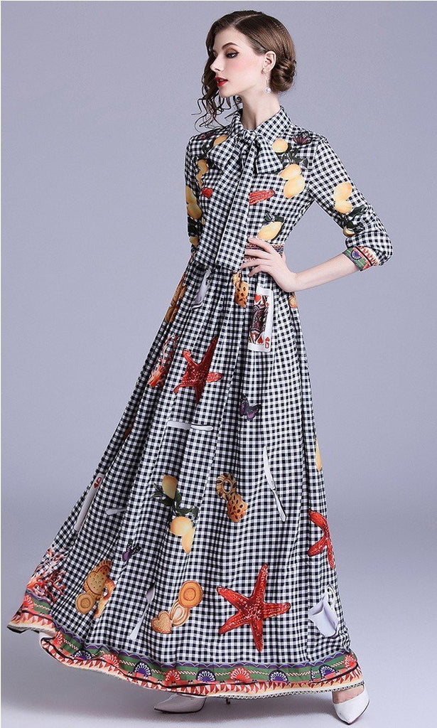 Fashion Plaid Print Slim Maxi Dress