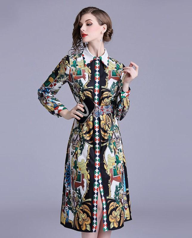 Retro Printed Lapel Long Sleeve Fashion Slim Dress
