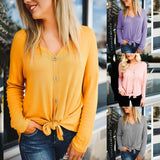 New V-neck Casual Long-sleeved Loose T-shirt