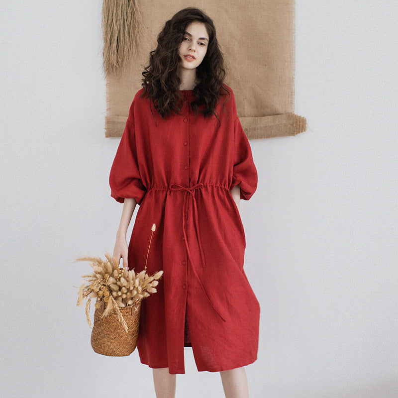 Red Retro Linen Midi Dress