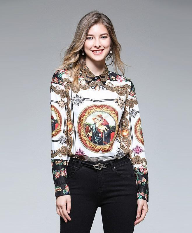 Fashion Printed Lapels Long Sleeve Slim Shirt