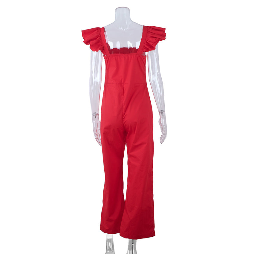 Red Street Style Cotton Jumpsuits
