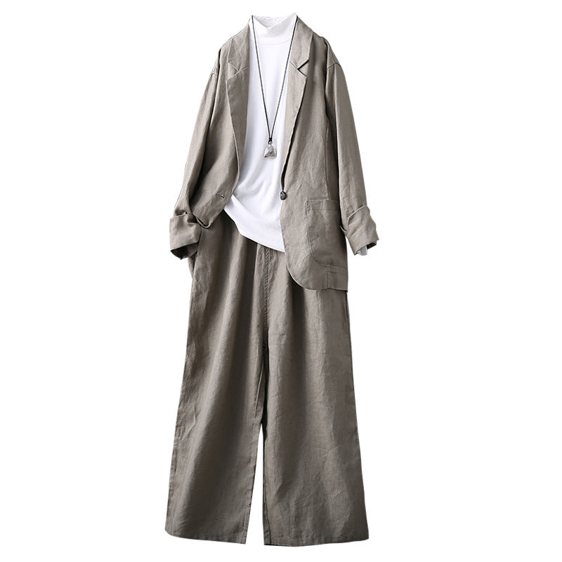 Fashion Loose Linen Suit