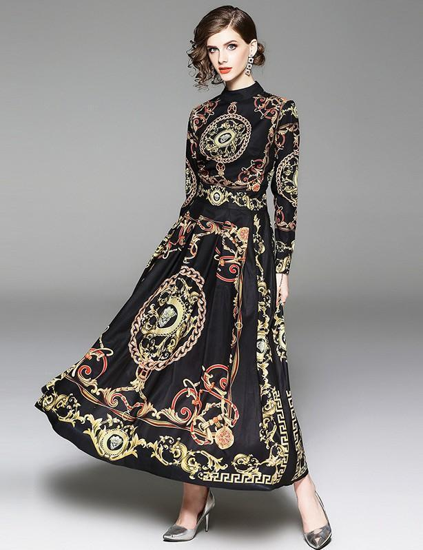 Retro Court Style Long Sleeve Fashion Print Dress