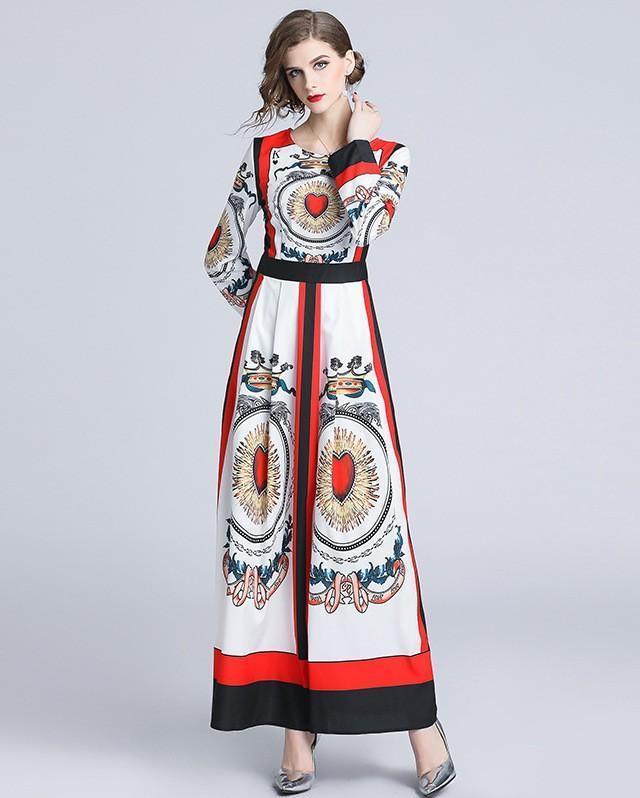 Round Neck Long Sleeve Print Slim Fashion Dress