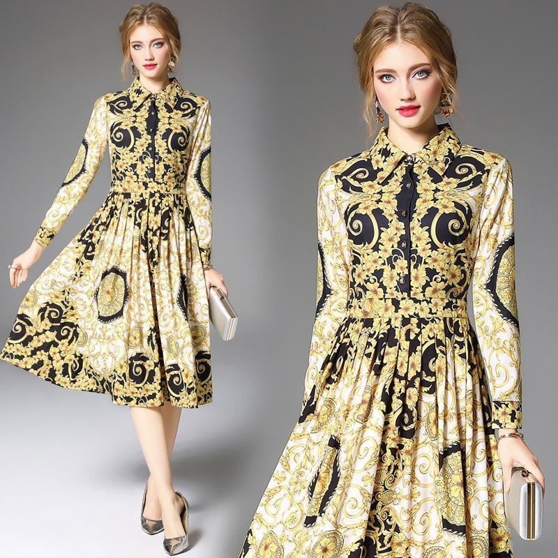 Royal Court Foral Print Long Sleeve Midi Dress