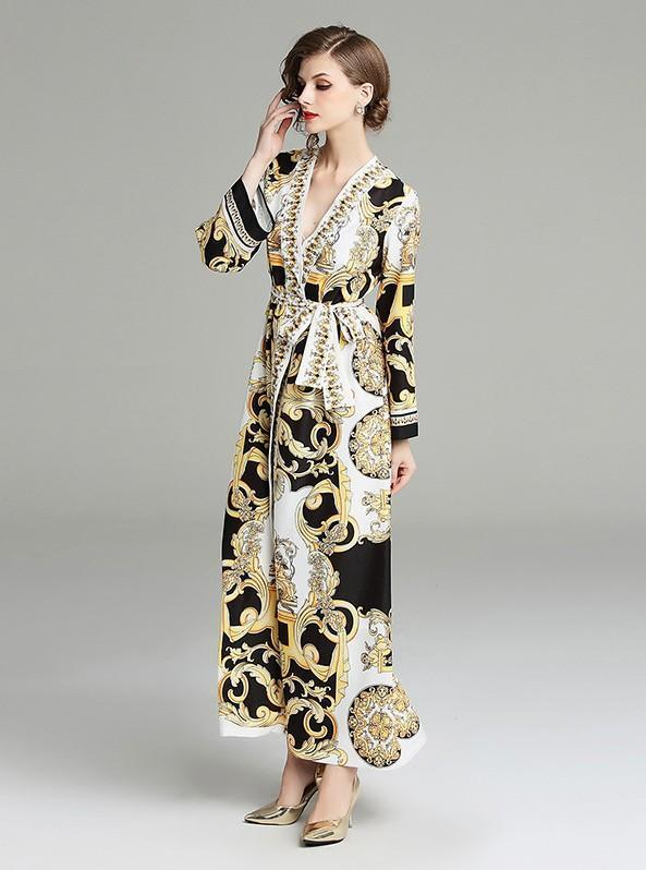 V-neck Long-sleeved Court Print Loose Dress