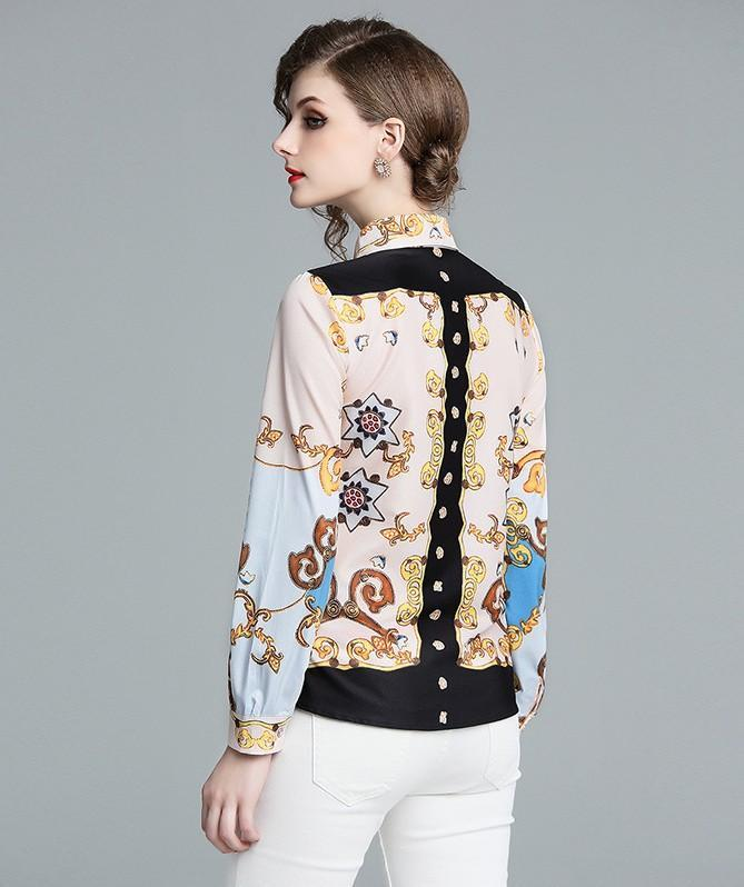 Retro Bow Fashion Print Long Sleeve Shirt