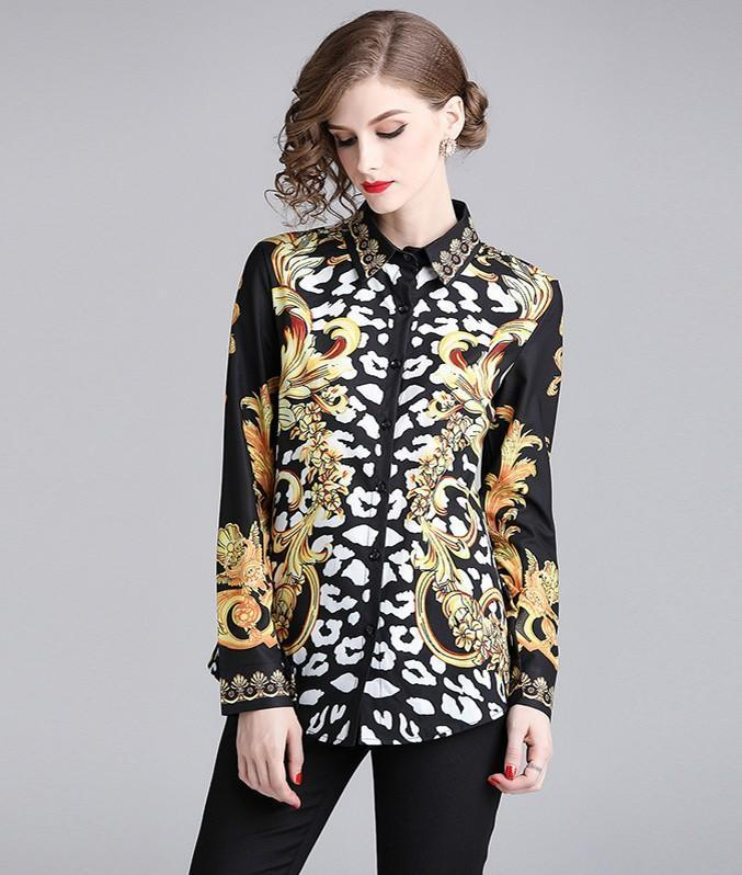 Retro Lapel Long Sleeve Printed Slim Shirt