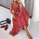 Sexy Sling Striped Maxi Dress