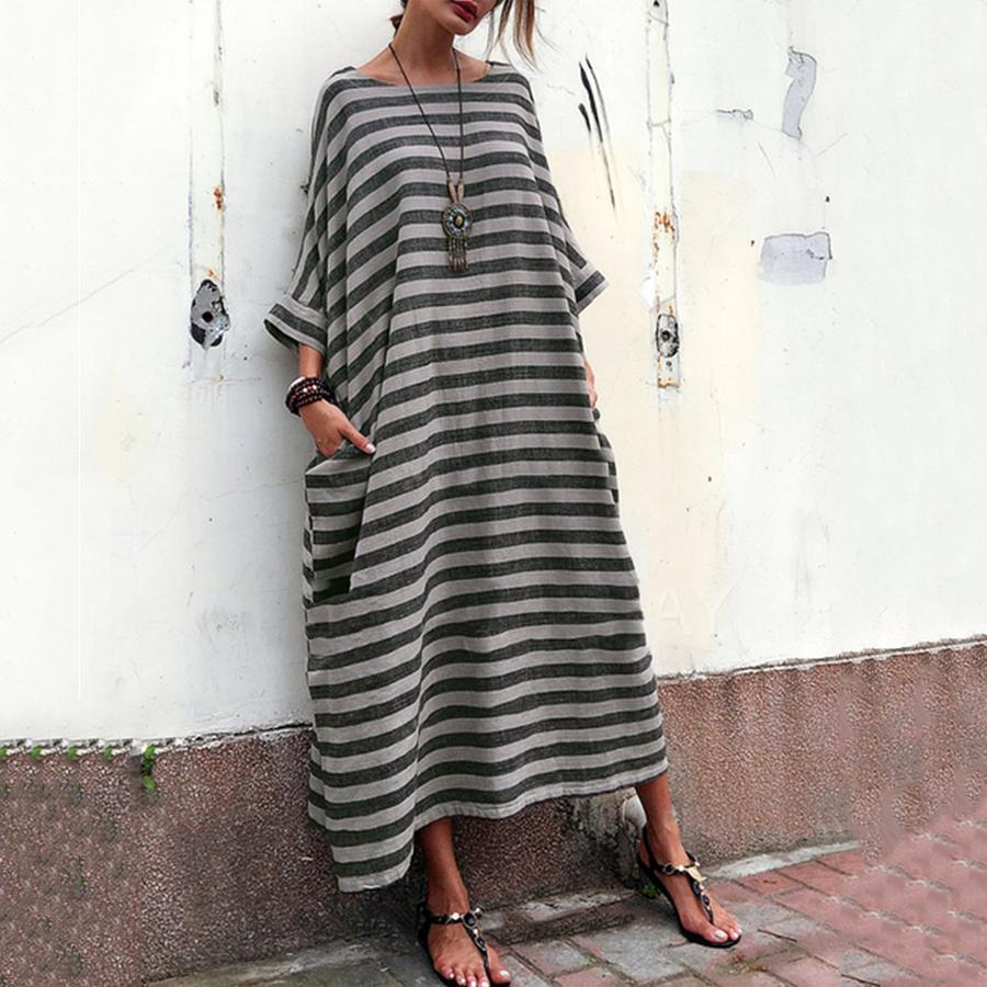 Cusual Loose Striped Summer Maxi Dress