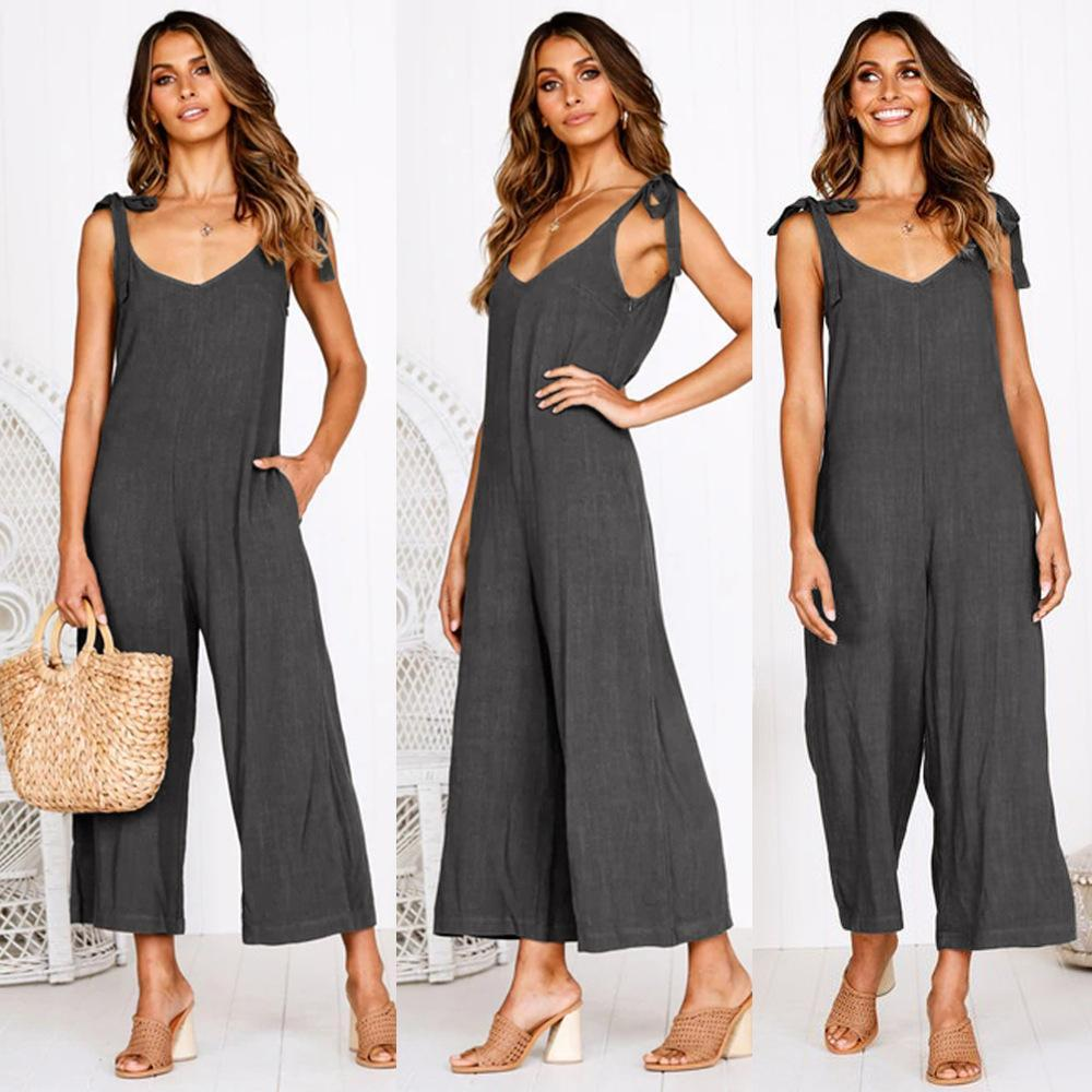 Four-Color Tied Bandwidth Loose Jumpsuit