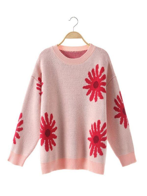 Sweet Sun Flower jersey Long Sleeve Thick  Casual Knitted Sweater