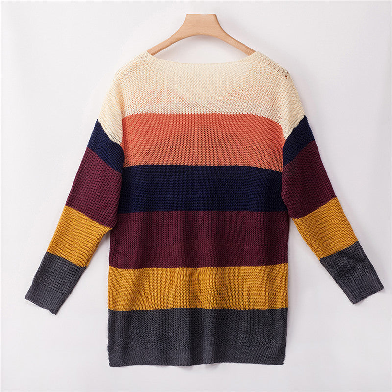 Rainbow Colorblock Loose Long Sleeve Pullover Sweater