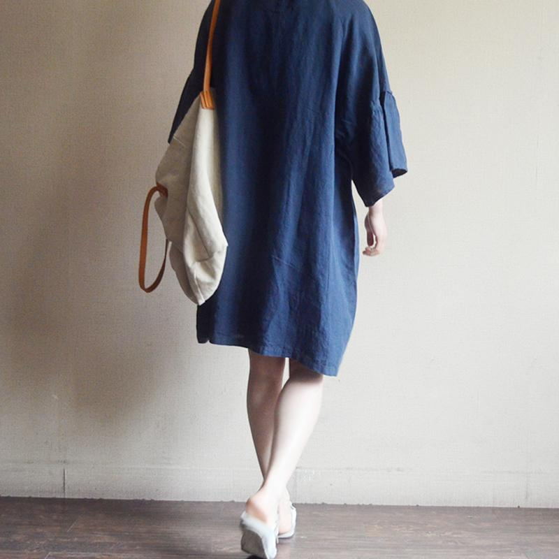 Casual Loose Cotton Linen Embroidery Dress