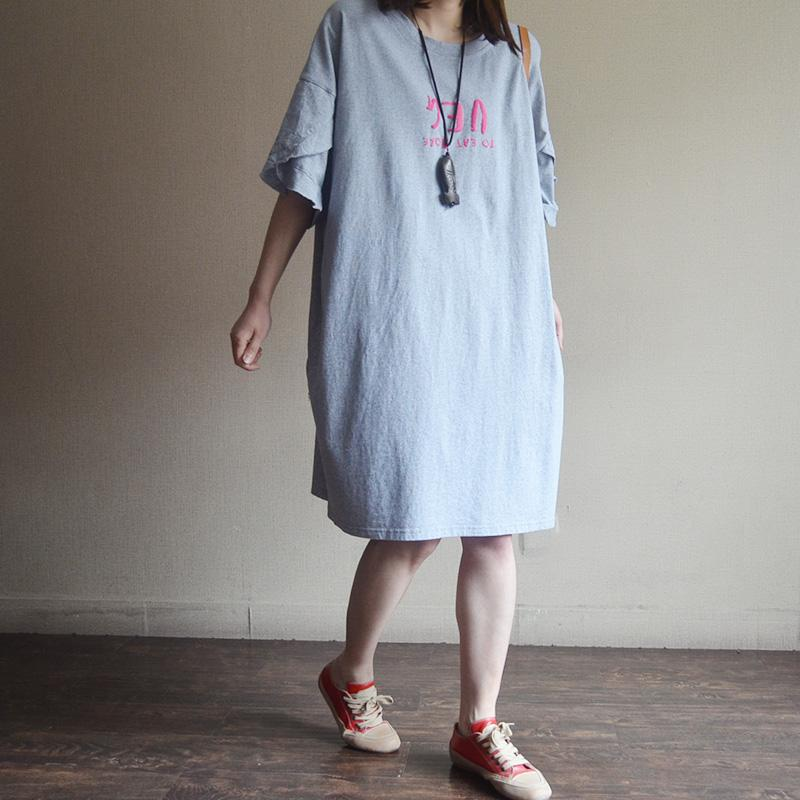 Cotton Casual Loose Butterfly Sleeve Dress