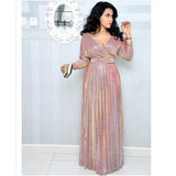 Reflective Pleated Sexy Deep V Neck Elegant Belt Glitter Maxi Dresses M-XL