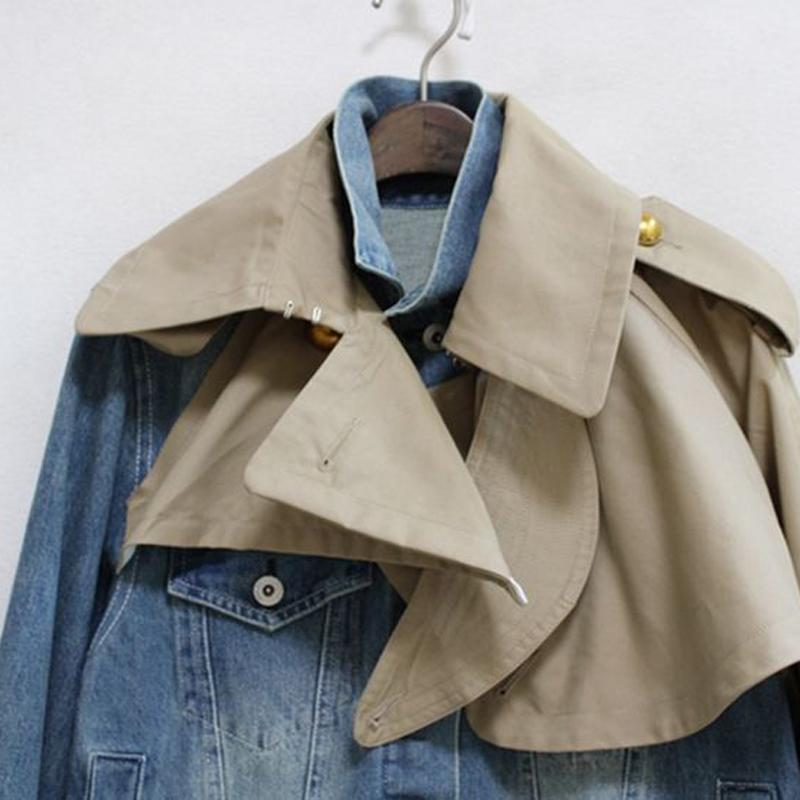 Denim Jacket Long Sleeve Patchwork Contract Color Loose Coats