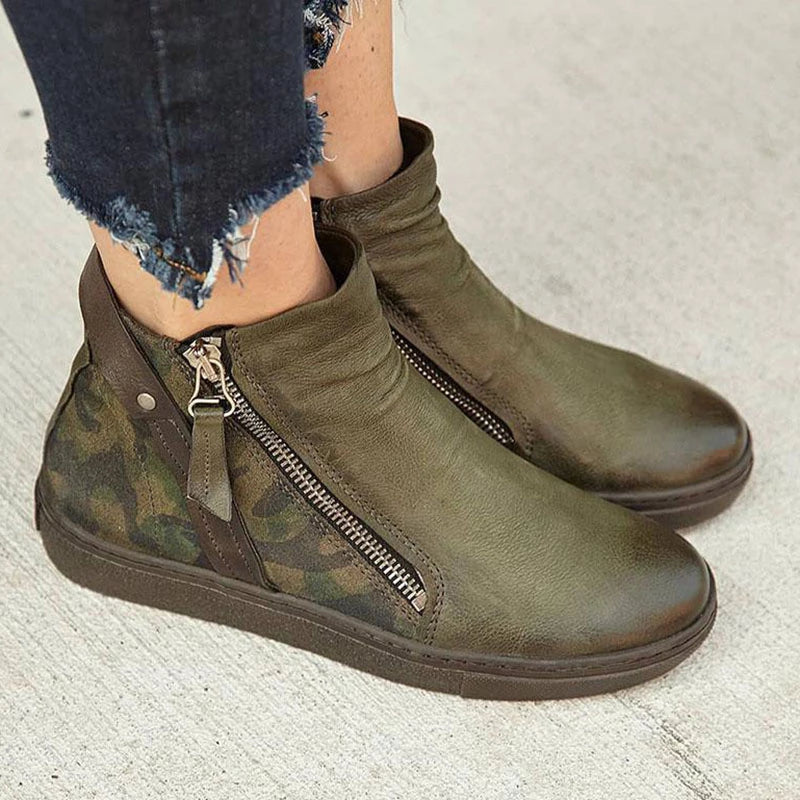 Camouflage Large Size Boots Ankle Zipper Martin Boots