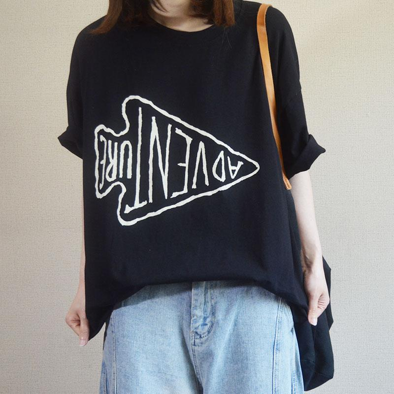 Letter And Fish Printed Casual Loose T-Shirt