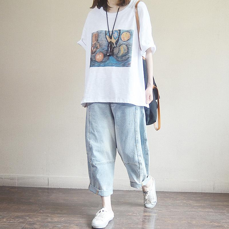 Loose Comfortable Printed Cotton Summer T-Shirt