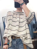 Loose Cotton Linen Striped Long Sleeve Shirt