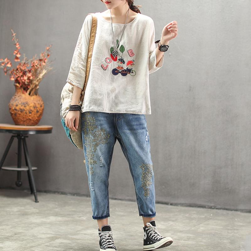New Vintage Embroidery Casual Loose Blouse