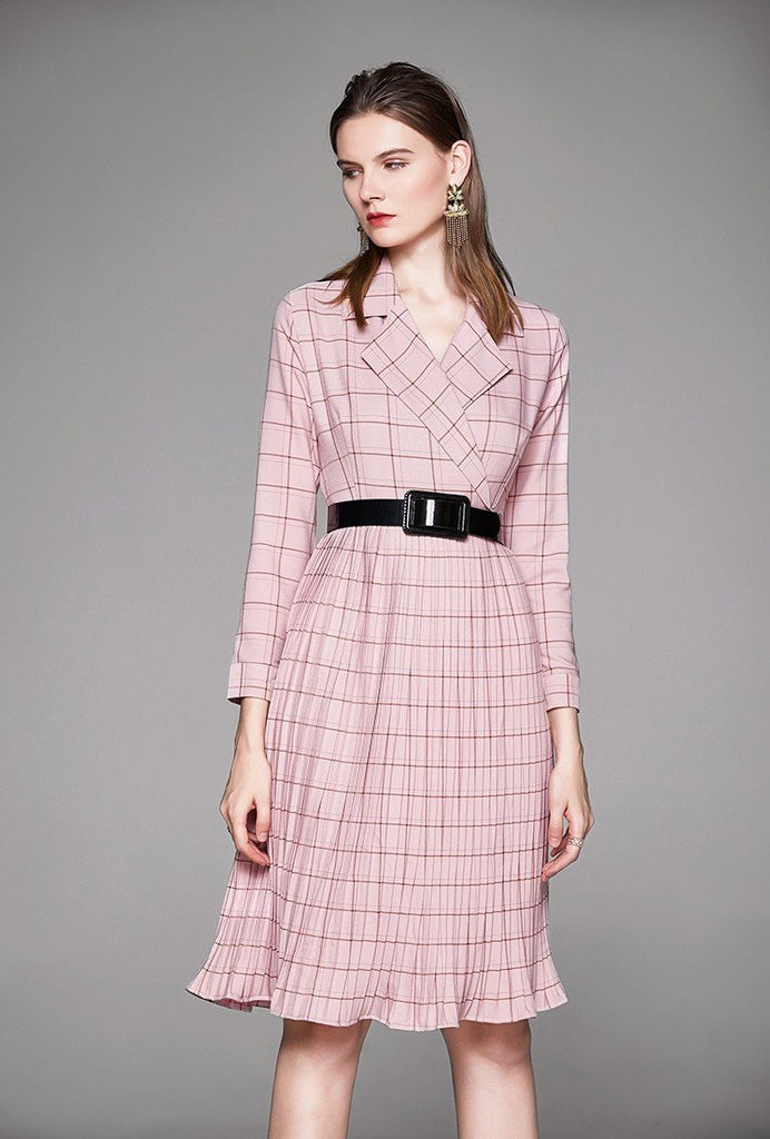 Plaid Fashion Long Pleated Dress