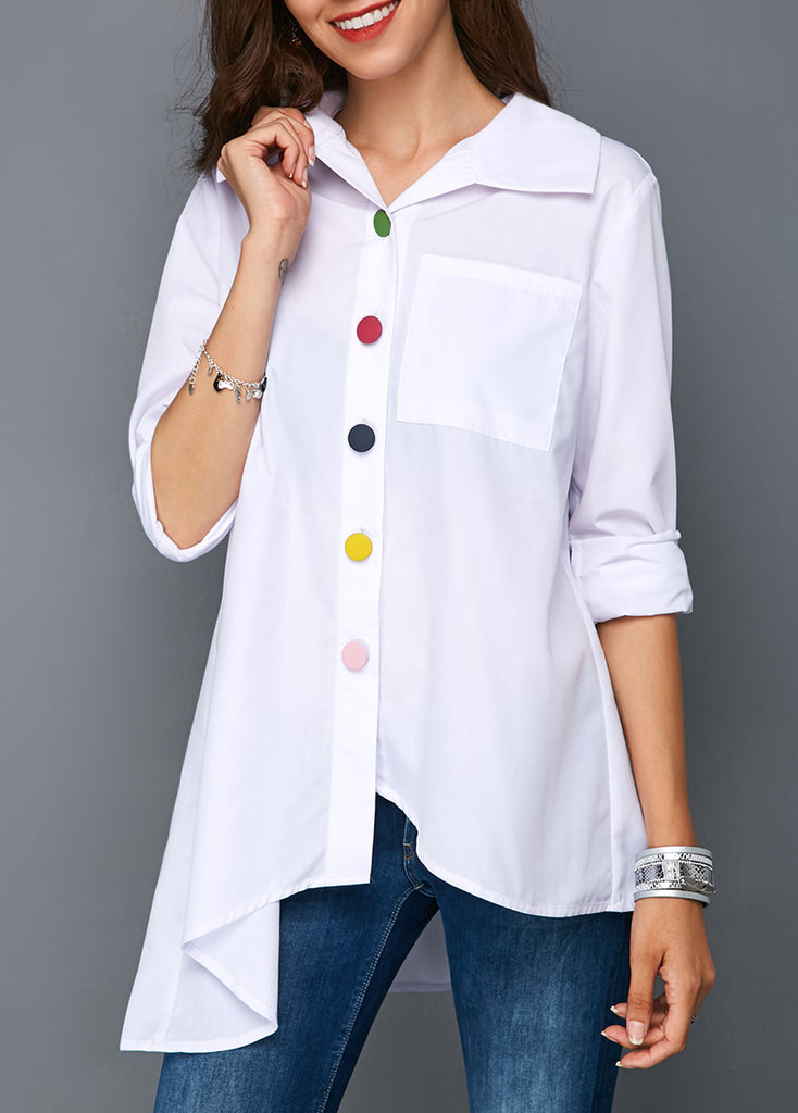 Lapel Irregular Color Button Shirt