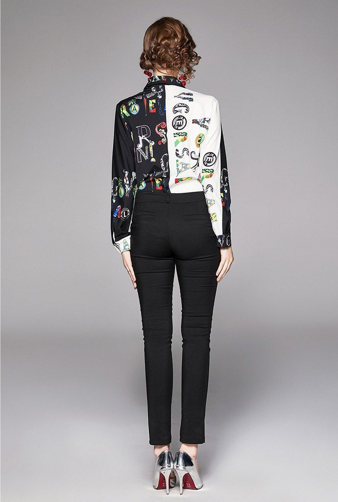 New Fashion Print Slim Long Sleeve Wild Lapel Shirt