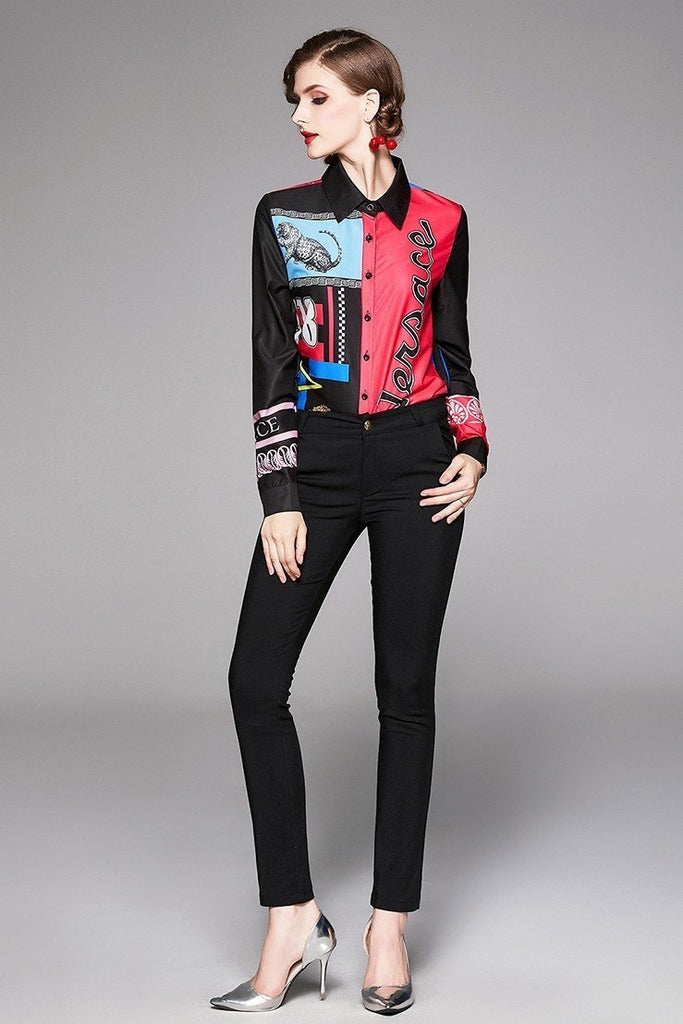 Lapel Fashion Print Long Sleeve Single-breasted Shirt