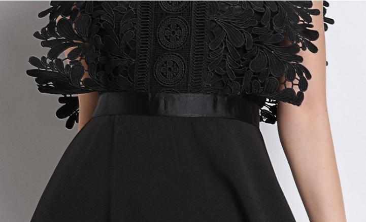 Stand collar sleeveless lace fashion dress