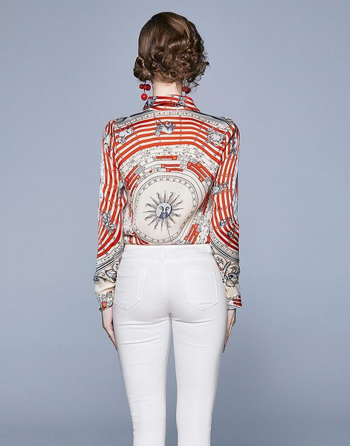 Lapel Fashion Print Long Sleeve Shirt